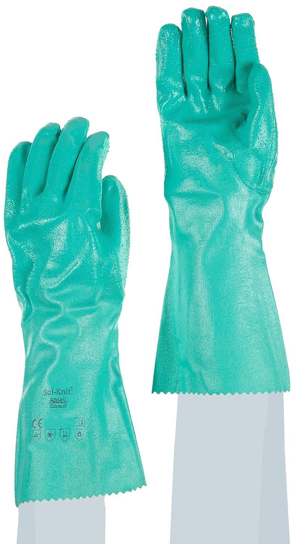 bolsa de 12 pares Ansell Sol-Knit 39-124//7 Nitrilo guante Verde Protecci/ón contra productos qu/ímicos y l/íquidos Tama/ño 7