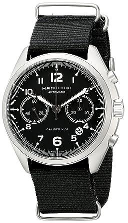 2f0e13680 Amazon.com: Hamilton Men's H76456435 Khaki Aviation Stainless Steel ...