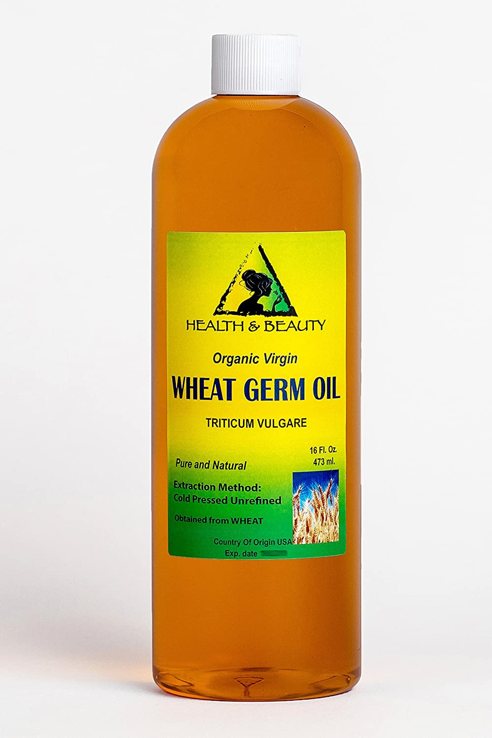 Wheat Germ Oil Unrefined Organic Carrier Virgin Cold Pressed Pure 32 oz, 946 ml H&B OILS CENTER Co.