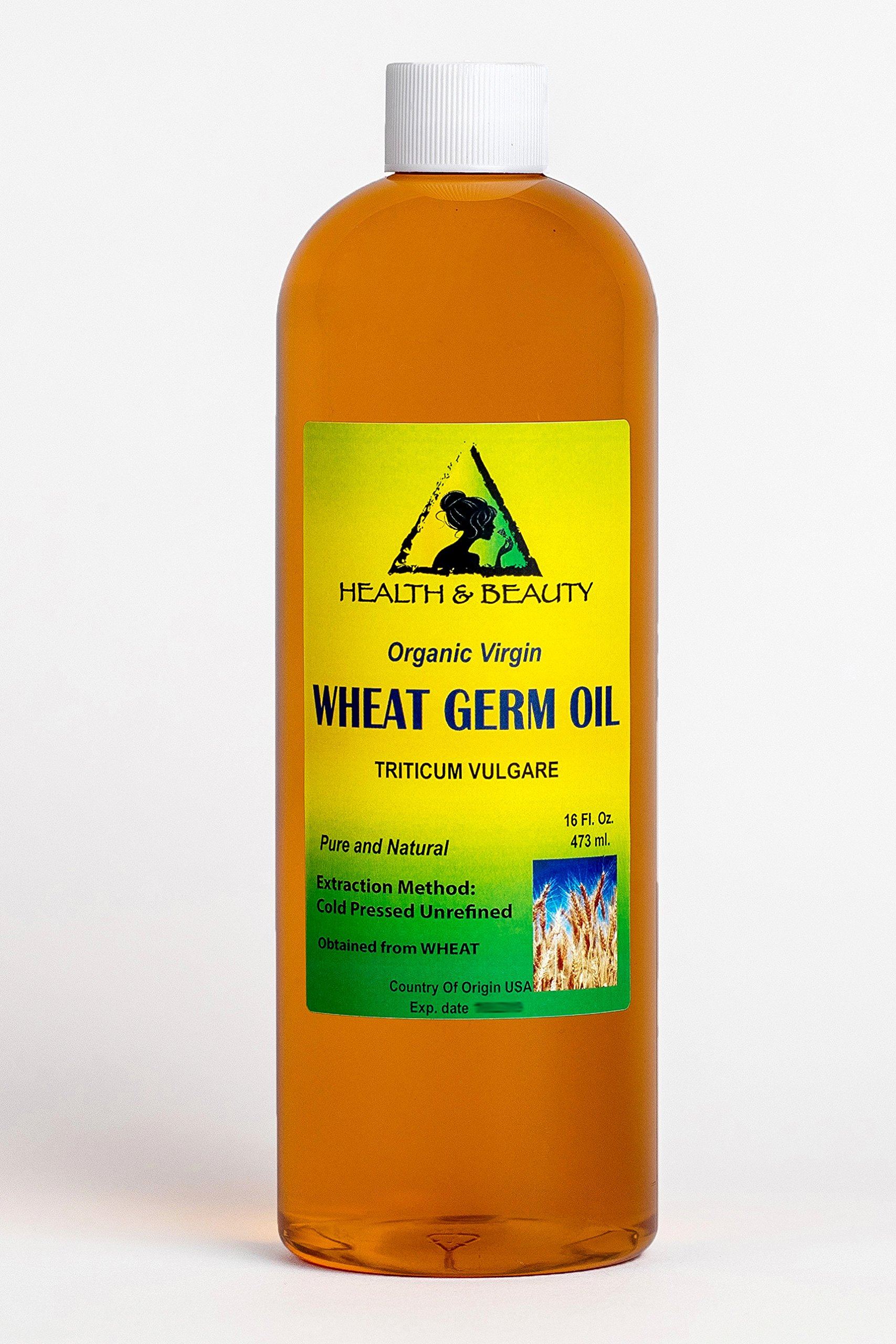 Wheat Germ Oil Organic Unrefined by H&B OILS CENTER Raw Virgin Cold Pressed Premium Quality Natural Pure 16 oz by H&B Oils Center Co.