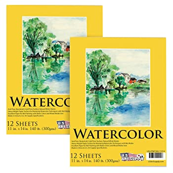 U.S. Art Supply 12-Sheets Watercolor Paper