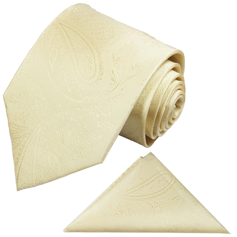 Krawatten Set 2tlg Krawatte + Einstecktuch von Paul Malone creme paisley Hochzeitskrawatte Bräutigam Tie v27