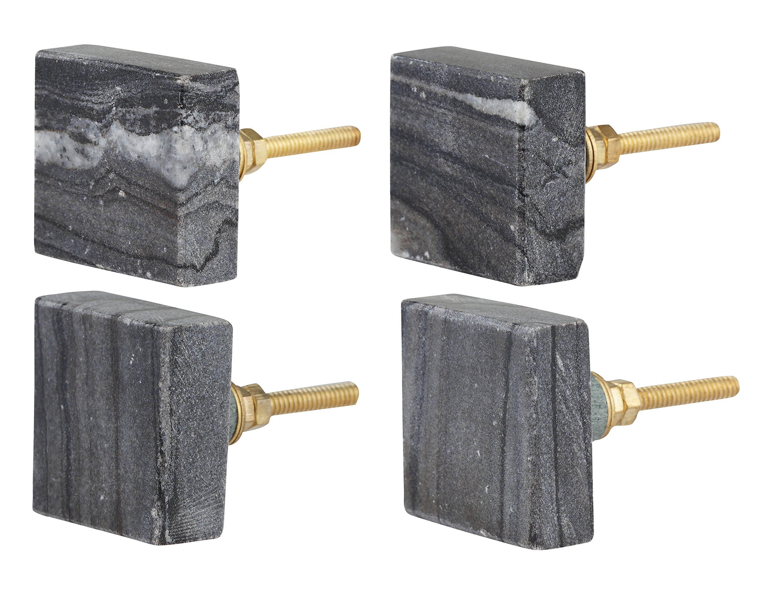 Set of 4 Square Dark Gray Marble Cabinet Knobs – Decorative Drawer Pulls for Dressers, Drawers and Cabinets – Square Modern Cabinet Hardware for Bathrooms, Kitchens by Artisanal Creations