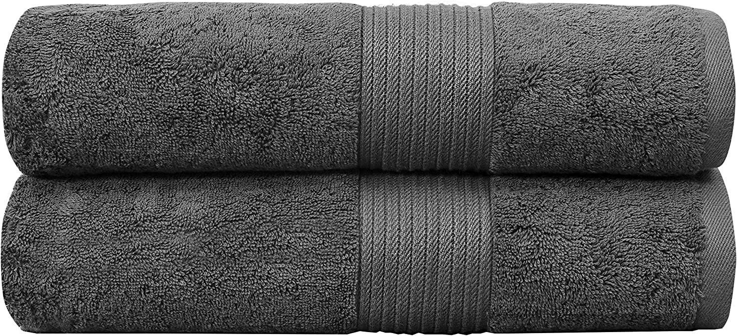 """Bliss Luxury Bath Towels Set - 34"""" x 56"""" Extra Large Premium Quality Bath Sheet - 650 GSM - Soft Combed Cotton, Absorbent (Dark Grey, 2 Pack)"""