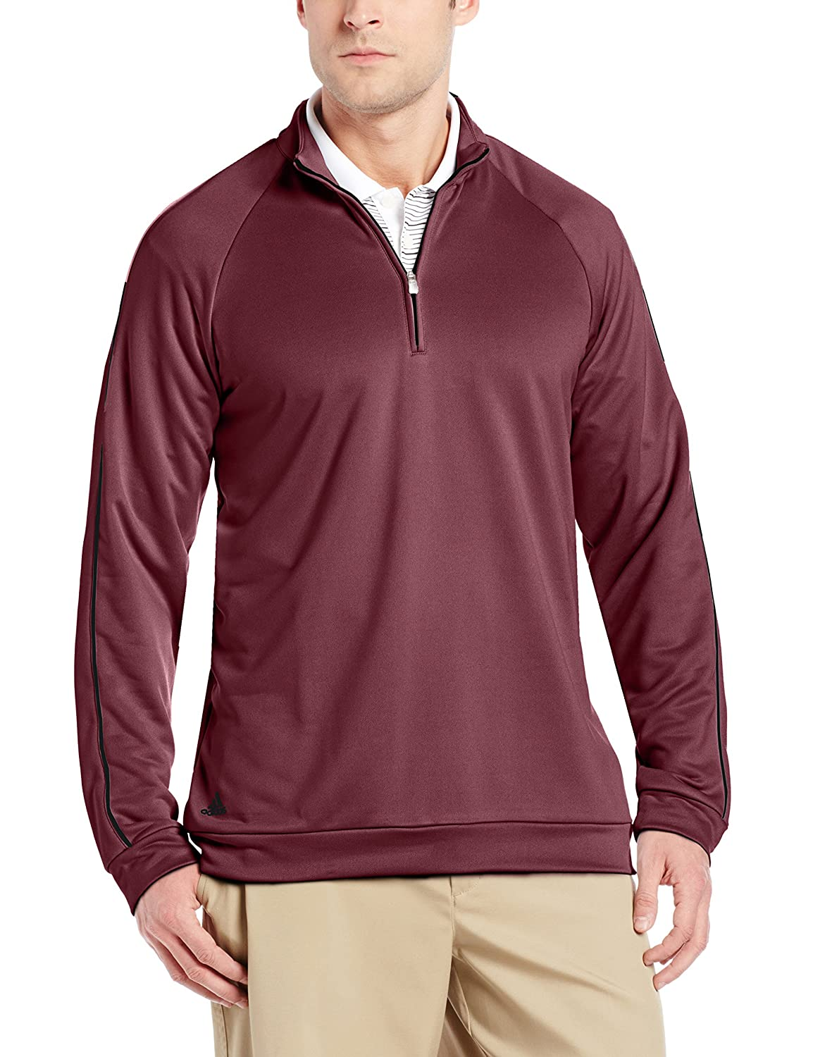adidas quarter zip. amazon.com: adidas golf men\u0027s 3-stripes piped 1/4 zip shirt: sports \u0026 outdoors quarter s