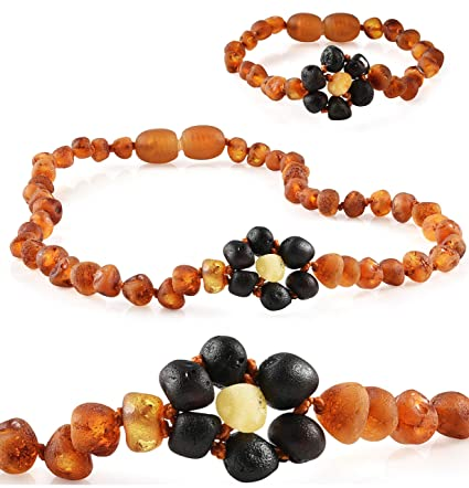 D Baltic Amber Teething Necklace For Babies Cognac - Anti Flammatory Unisex