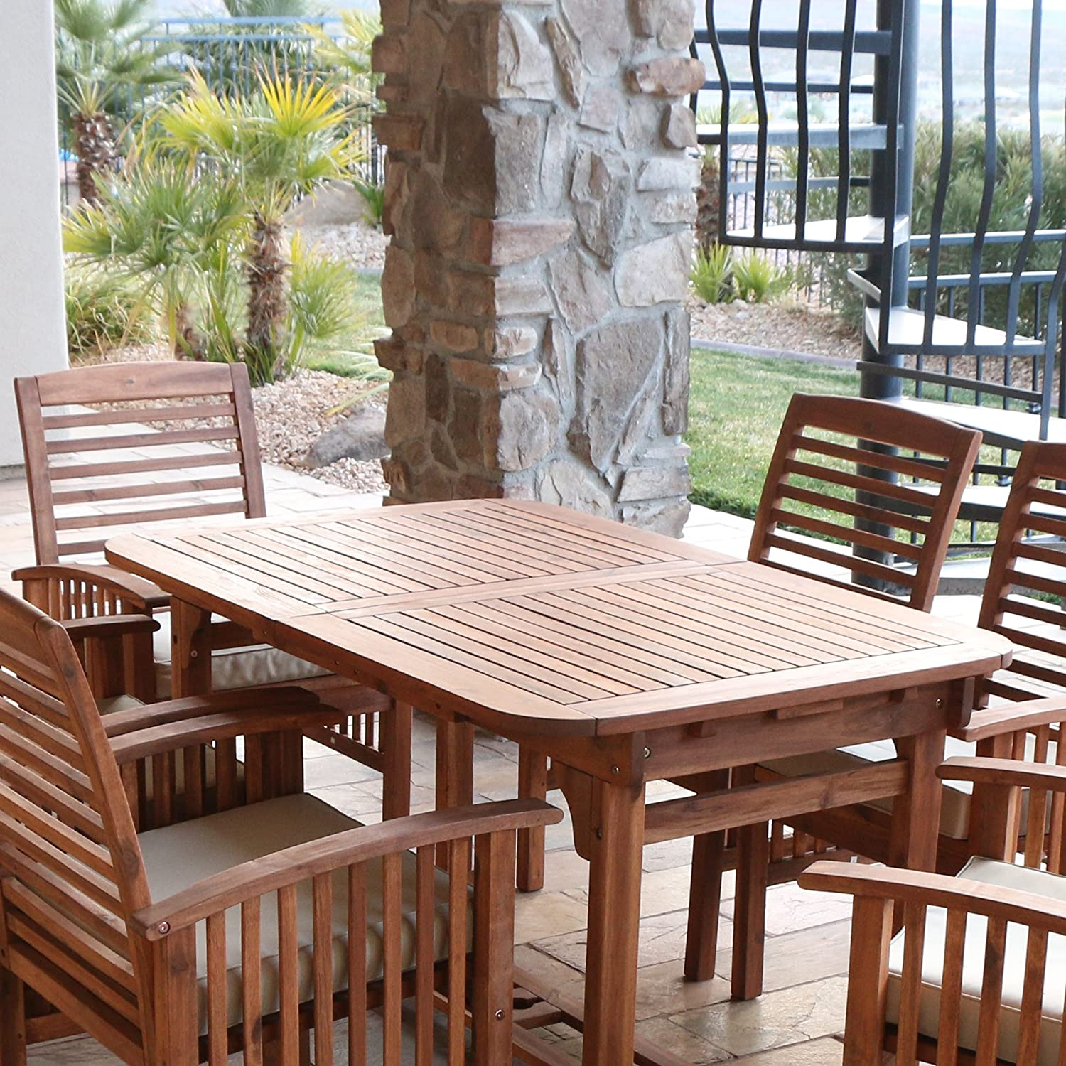 Amazon.com WE Furniture Solid Acacia Wood 6-Piece Patio Dining Set Garden u0026 Outdoor & Amazon.com: WE Furniture Solid Acacia Wood 6-Piece Patio Dining Set ...