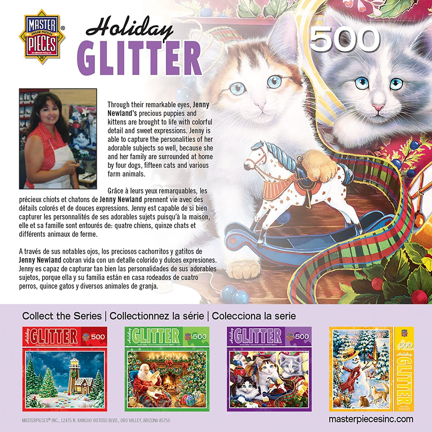 Amazon.com: MasterPieces Holiday Glitter Holiday Mischief Kittens Jigsaw Puzzle by Jenny Newland, 500-Piece: Toys & Games