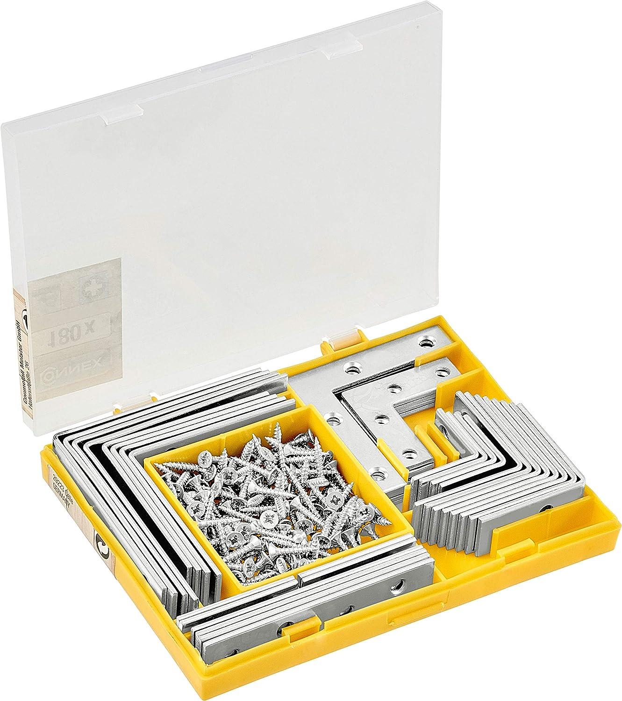 GAH-Alberts 332747 acero galvanizado en amarillo Lote de escuadras y chapas de juntura