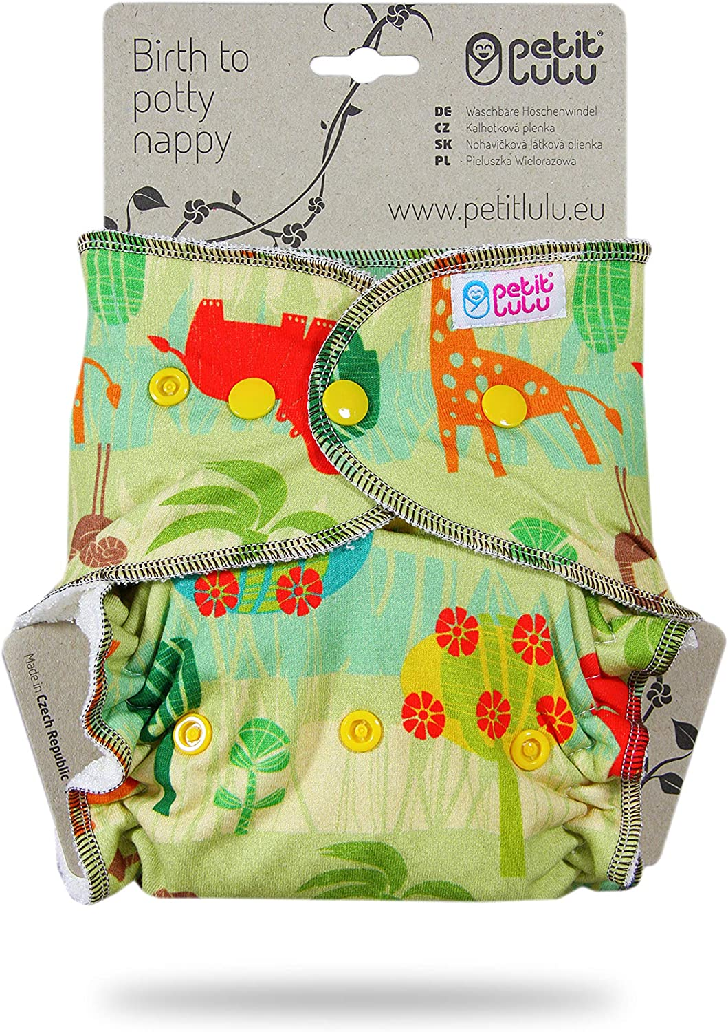 Petit Lulu Bamboo Fitted One Size Diaper Reusable /& Washable Made in Europe Snaps Savanna