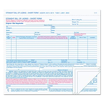 TOPS 4 Part Carbonless Bill Of Lading Forms, 8.5 X 7.63 Inches, Simplified