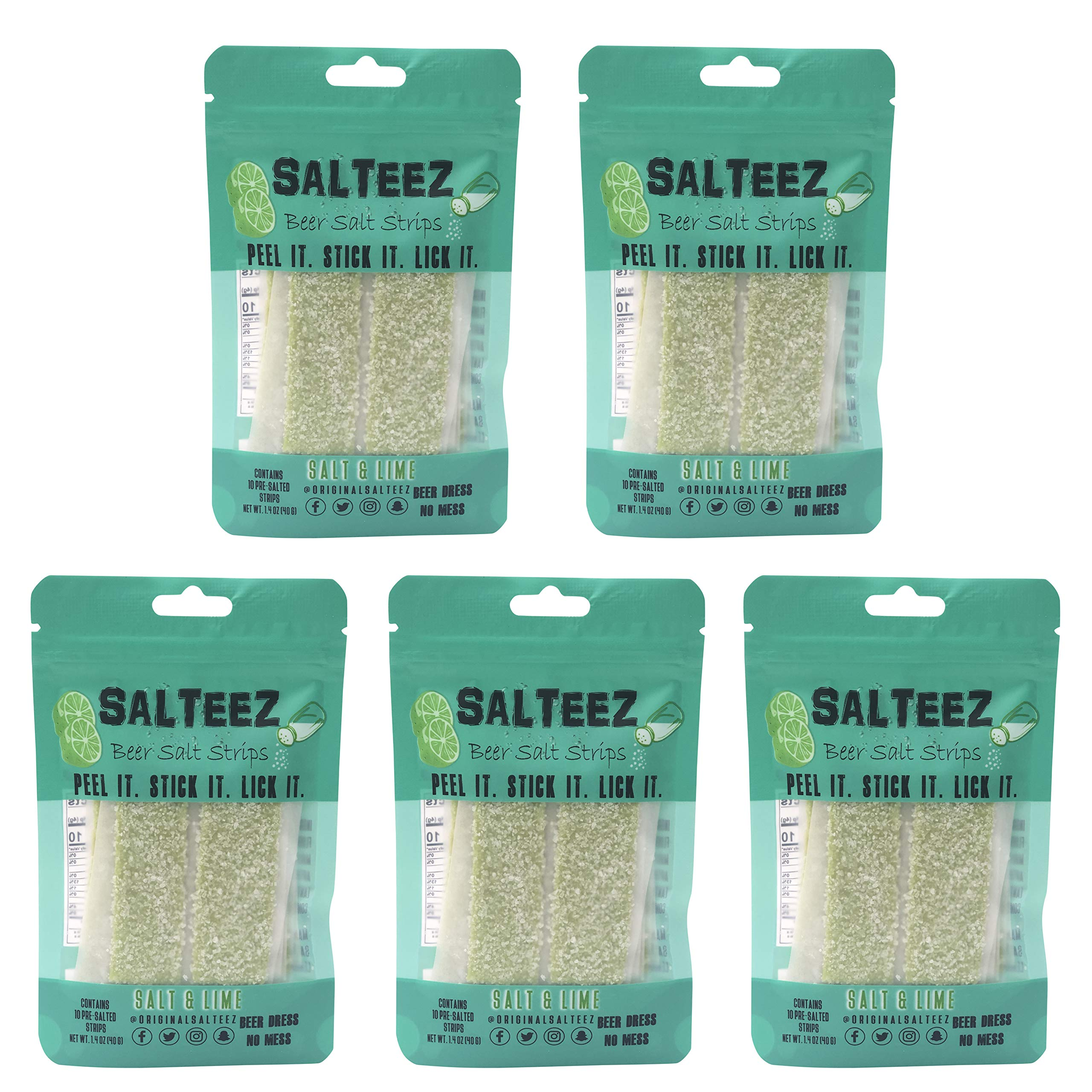 Salteez Beer Salt Strips - Real Salt & Lime Flavor Strips That Stick to Your Bottle, Can, or Cup - For a Perfectly Dressed Beer Anytime Anywhere! (Salt & Lime, 5 Pack) by Salteez