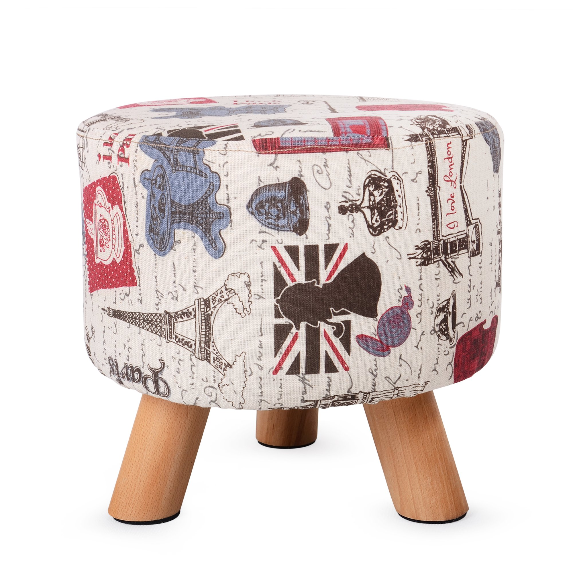 H&B Luxuries Fabric Round Padded Ottoman Foot Rest Stool (Vintage Beige)