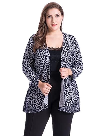 51110ac5ab7 Chicwe Women s Plus Size Cashmere Touch Floral Printed Cardigan Style  Jacket - Open Front Casual Jacket at Amazon Women s Clothing store