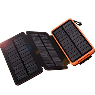 Solar Charger 24000mAh,WBPINE Solar Power Bank Waterproof Dual USB Output with 3 Solar Panels External Battery Bank Flashlights for iPhone,Samsung,iPad,Smartphone,Bluetooth Speak and More (Orange)