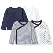 Moon and Back Baby Set of 4 Organic Long-Sleeve Side-Snap Shirts, Navy Sea, 0-3 Months