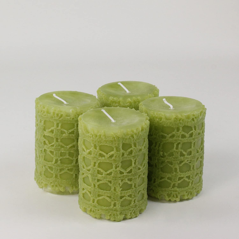 Kerzen Stumpenkerzen Adventskerzen CHRISTIN, 4 Stk. 90/65 mm reseda grün