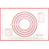 Large Silicone Baking Mat (60×40cm), Professional Grade Pastry Mat for Macaron/Cake/Bread Making, Non Stick Non Slip Reusable Heat-Resistant, BPA Free and FDA and LFGB-Approved(Red)