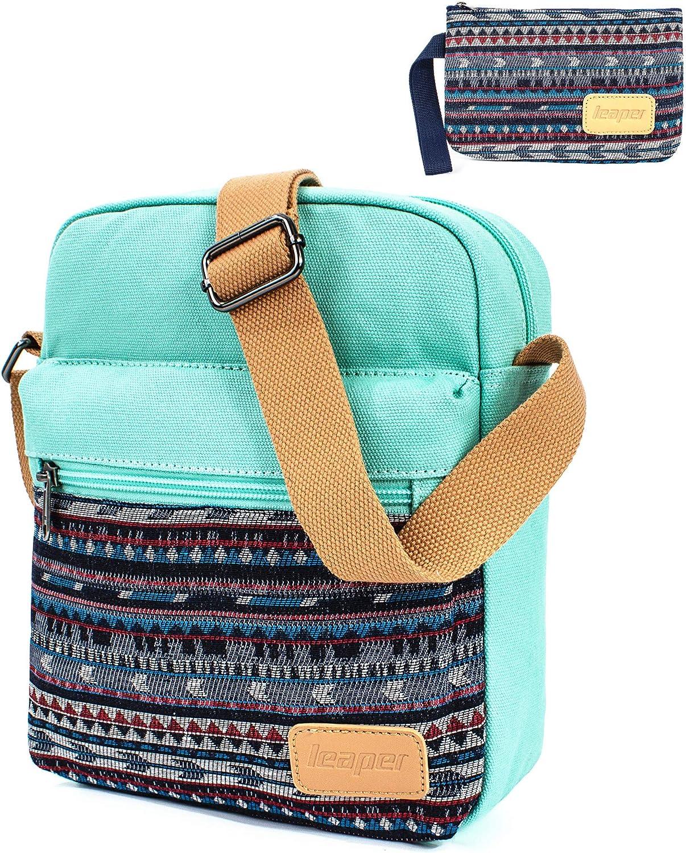 Leaper Small Canvas Messenger Bag Crossbody Bag Purse Set Water Blue [A3]