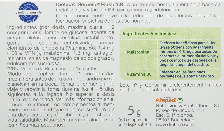 Dietisa Somnio Flash 1.8 , Comprimidos Bucodispersables Sin Agua - 60 Comprimidos: Amazon.es: Salud y cuidado personal