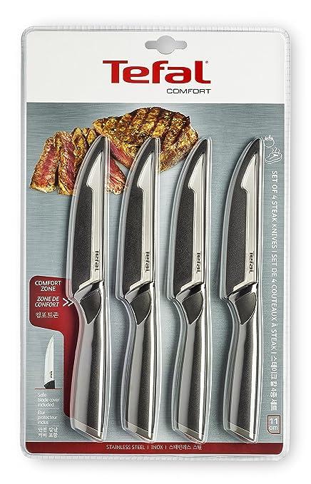 Compra Tefal Carne Comfort Set 4 Cuchillos, Acero Inoxidable, Negro en Amazon.es
