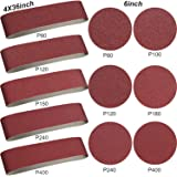 Aluminum Oxide Sanding Belts - 10 Pieces 4 x 36 Inch Sanding Belts (80/120/150/240/400 Grits) and 12 Pieces 6 Inch Self…