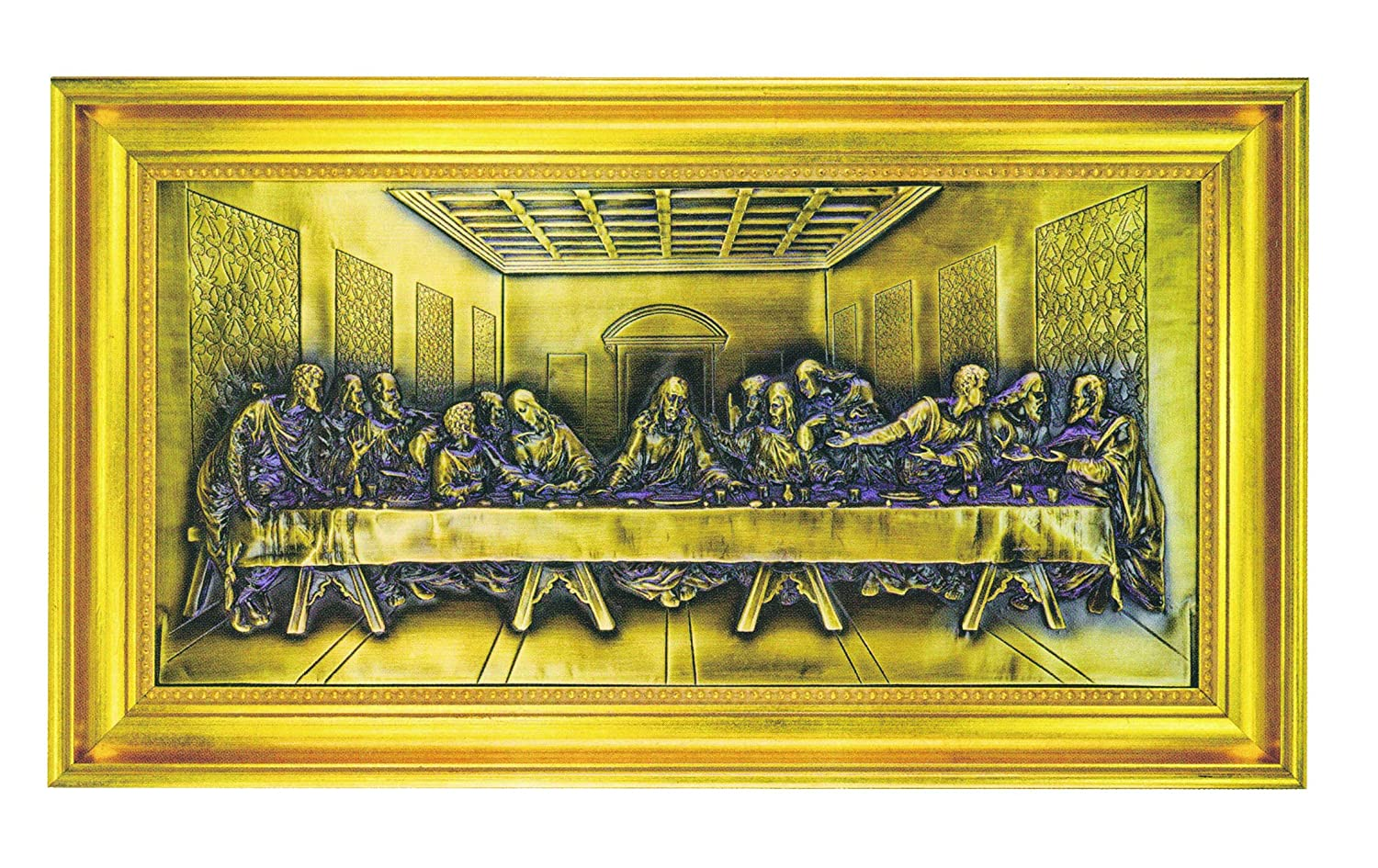 Amazon.com: The Last Supper Relief Plaque in Gold Leaf Frame ...