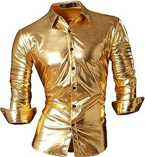 jeansian Mens Bronzing Metal Slim Long Sleeves Button Down Dress Shirt Z036