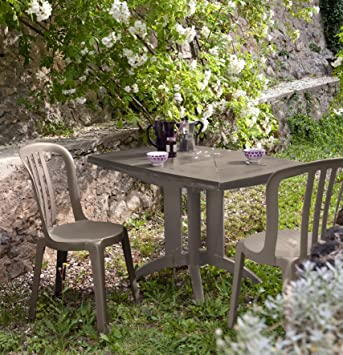 Bon Salon De Jardin: Table VEGA Taupe + 2 Chaises MIAMI Bistrot Taupe