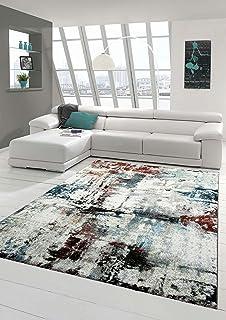 Designer Teppich Moderner Wohnzimmer Kurzflor Meliert Splash Design Trkis Creme Braun Multi Grsse