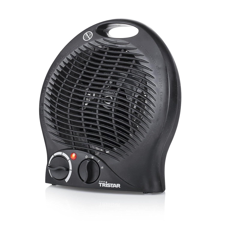 Tristar KA-5037 Calefactor con ventilador eléctrico y 3 funciones ajustables, Termostato regulable 2000 W, Asa integrada, Negro