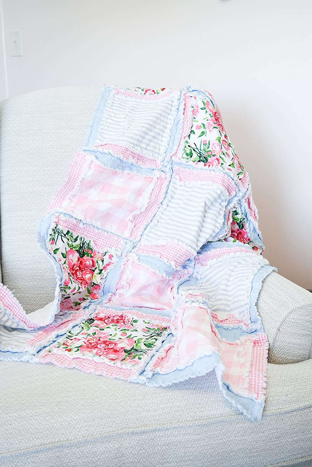 Image of Floral Baby Girl Crib Quilt - Light PInk/Pastel Blue - QUILT ONLY Home and Kitchen
