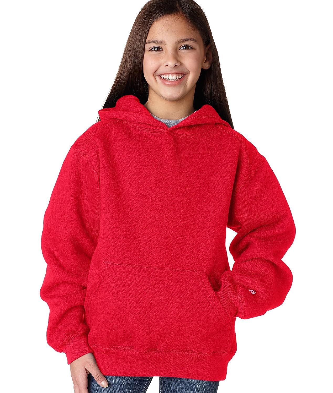 Badger Big Girls Athletic Panel Shoulder Two Ply Hooded Sweatshirt