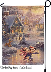 "Flagology.com, Disney, Thomas Kinkade, Mickey Mouse & Minnie Mouse, Mickey and Minnie Sweetheart Holiday – Garden Flag – 12.5"" x 18"", Outdoor, Printed on Both Sides, Officially Licensed Disney"