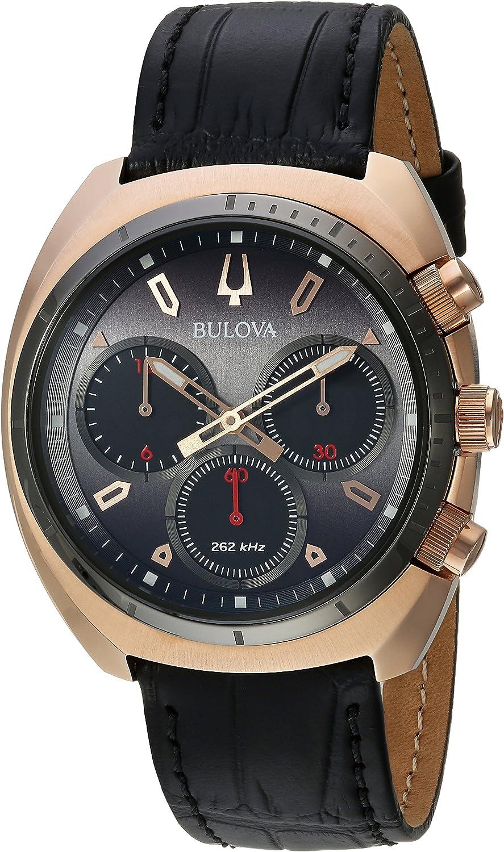 Bulova Curv Collection - Reloj analógico de cuarzo para hombre, acero inoxidable, correa de piel de cocodrilo, color negro, 22 (modelo: 98A156)