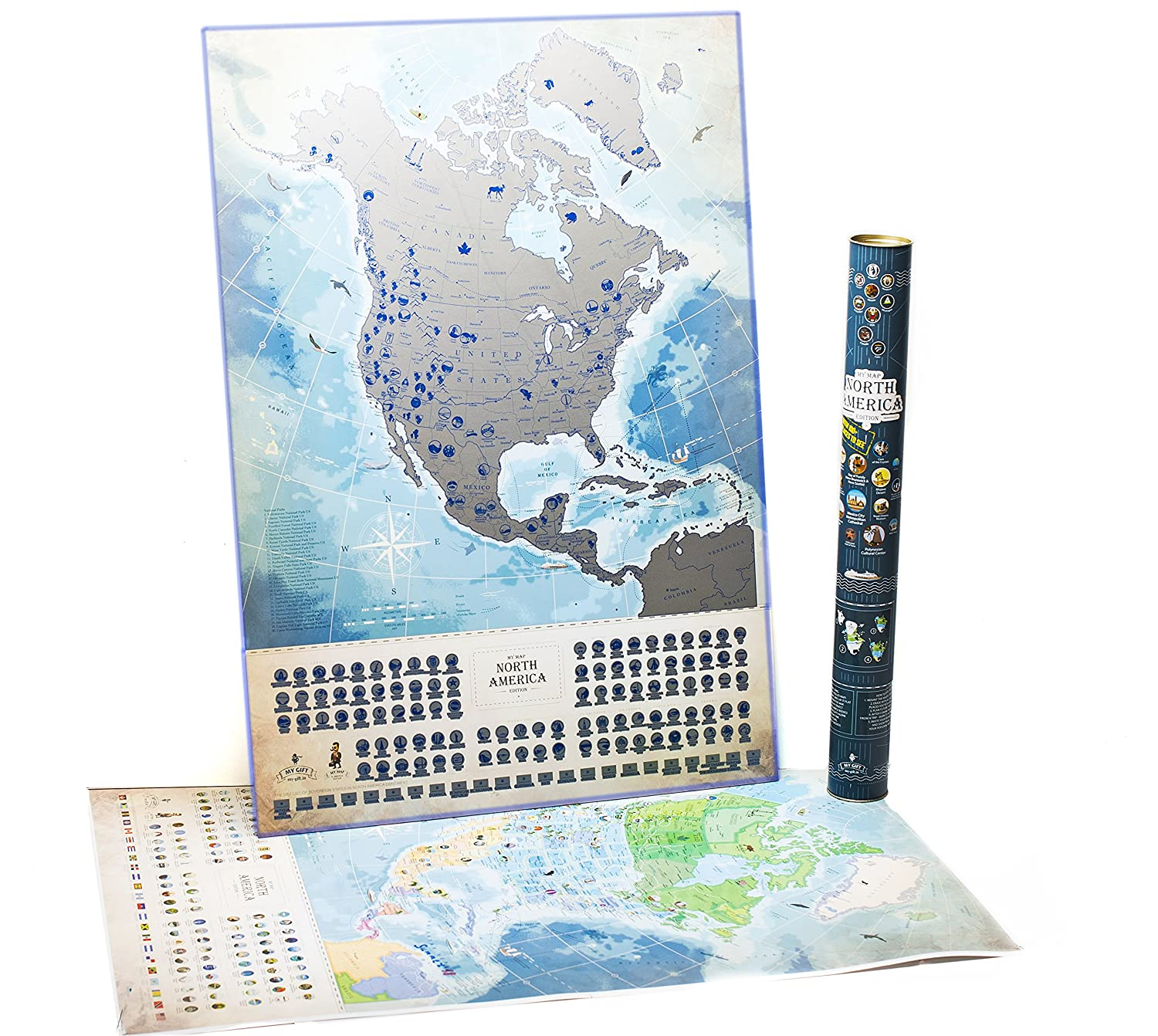 North America Scratch Off Map Luminous in the Dark with Challenges, w Canada map States, Flags and More than 100 Best Places and National Parks to Visit. Push Pin Travel Tracker Map MyMap