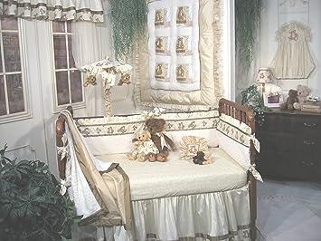 Jessica McClintock Baby Tapioca Teddy 5 Piece Crib Set   Cream And Brown  (Discontinued