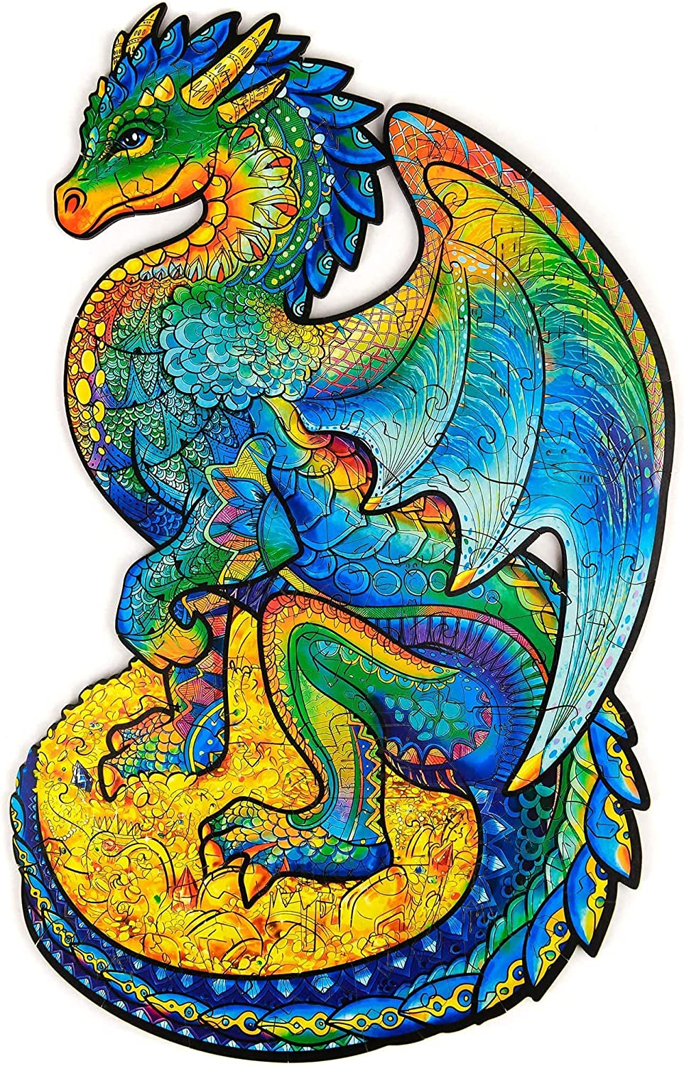 Unidragon Wooden Puzzle Jigsaw, Best Gift for Adults and Kids, Unique Shape Jigsaw Pieces Guarding Dragon, 6.2 х 10.3 in (16 х 26 cm) 97 pcs, Small