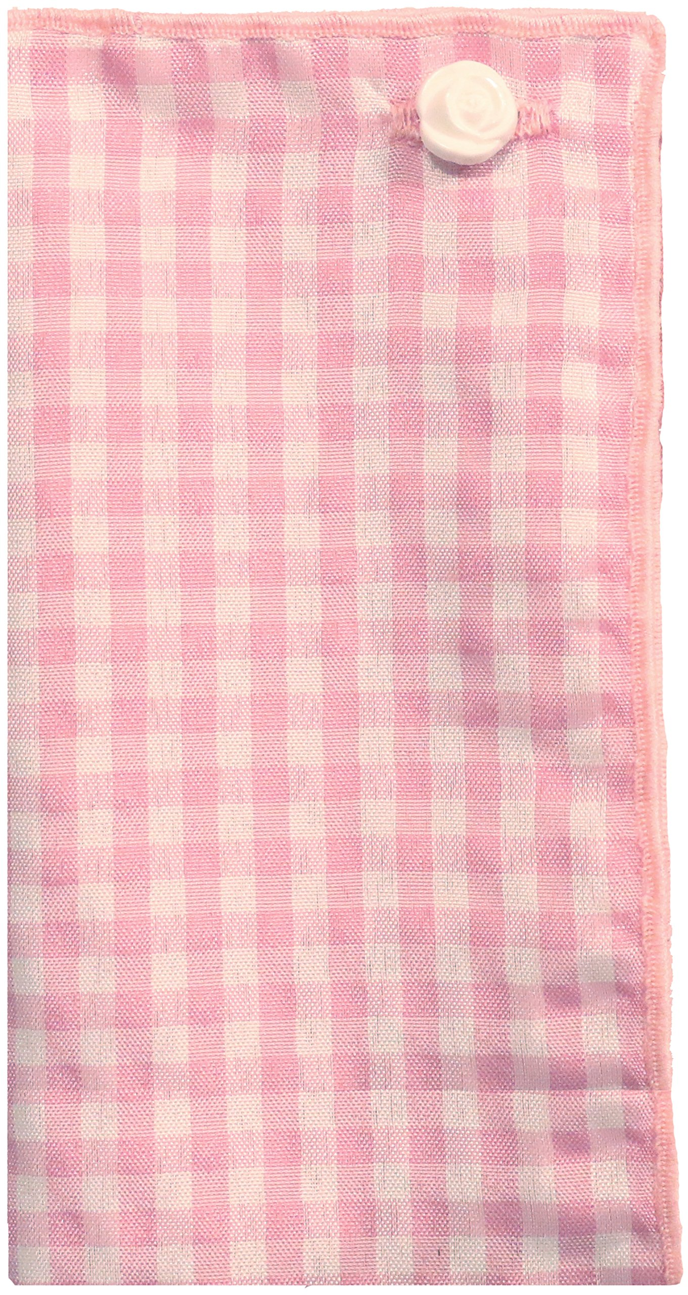 Light Pink & White Check w/ White Button Men's Pocket Square by The Detailed Male