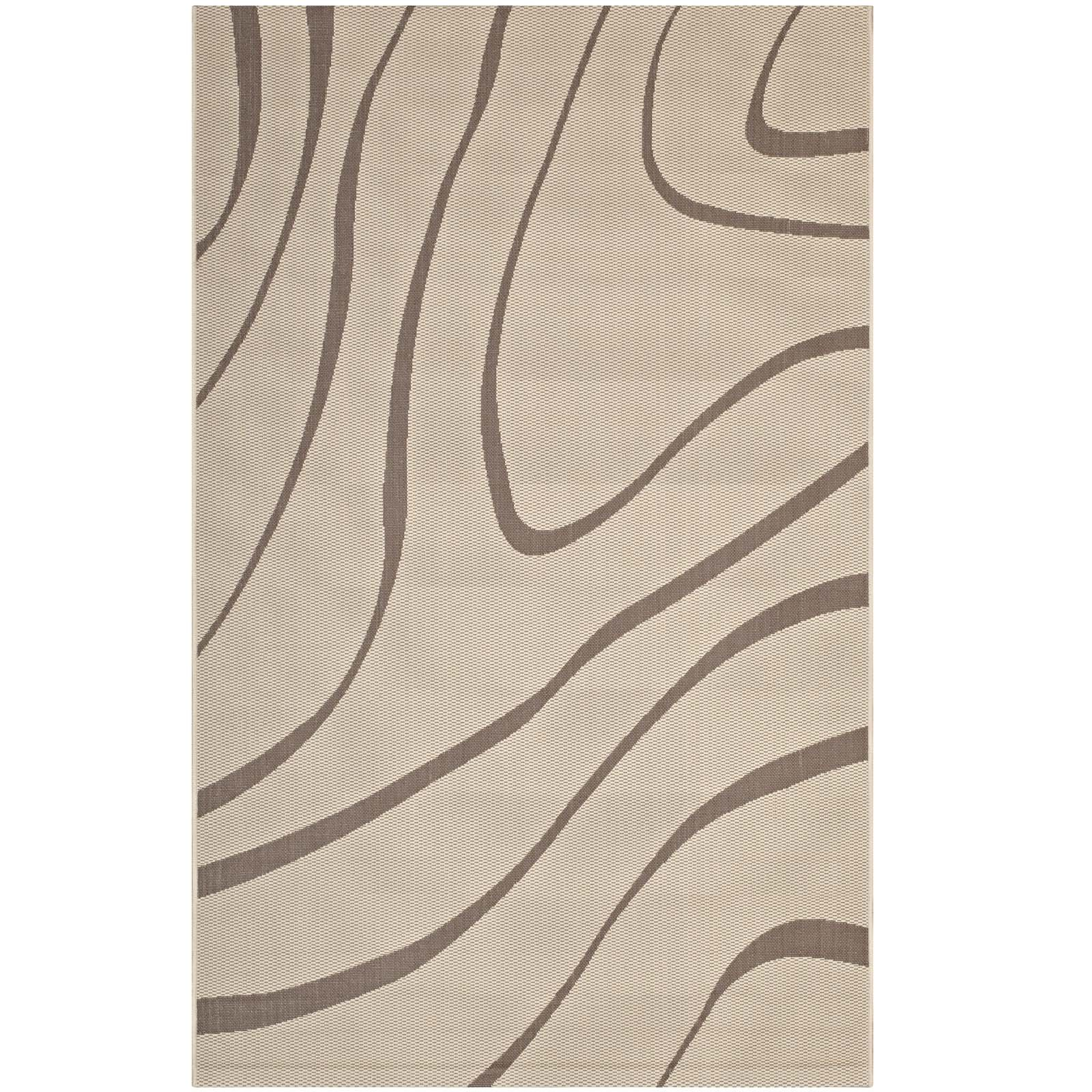 Modway R-1138A-810 Surge Area Rug Chevron with End Borders 5x8, Twin, Light and Dark Beige