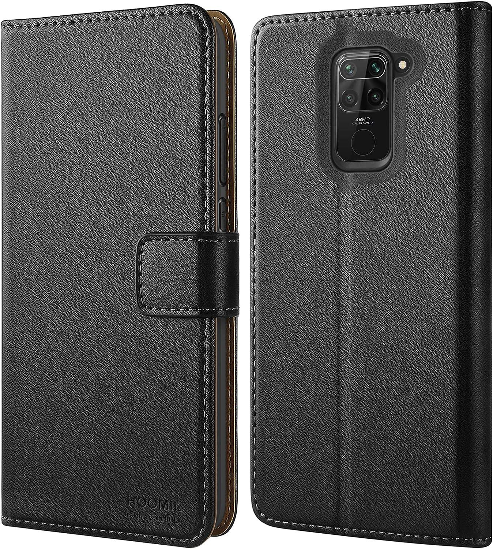 HOOMIL Funda para Xiaomi Redmi Note 9, Funda de Cuero PU Premium Carcasa para Xiaomi Redmi Note 9 (Negro)