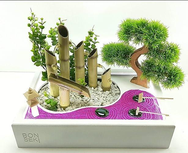Bonseki® fontana zen con giardino 40 x 25 bianco da interno