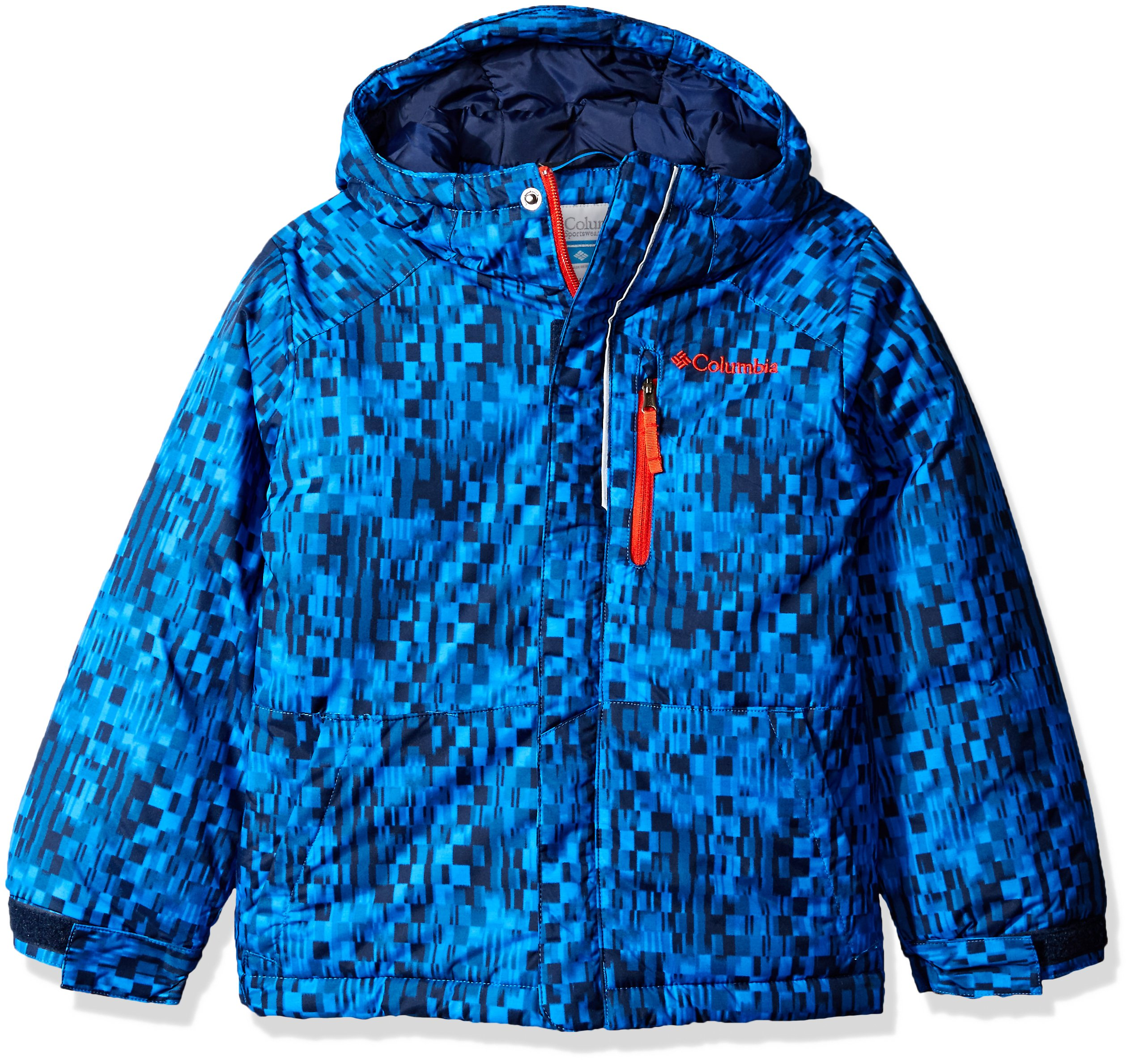 Columbia Big Boys' Lightning Lift Jacket, Collegiate Navy Block Print, Medium