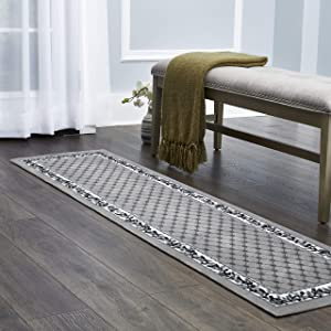 "Home Dynamix Lyndhurst Sheraton Runner Area Rug 1'9"" x7'2, Floral Border Gray/Ivory"