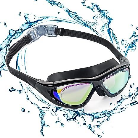 ZetHot Gafas De Natación De Marco Amplio, Gafas para Nadar Gafas De Natación Antigoteo, Antiniebla Y Protección UV para Hombres, Mujeres, Adultos, ...