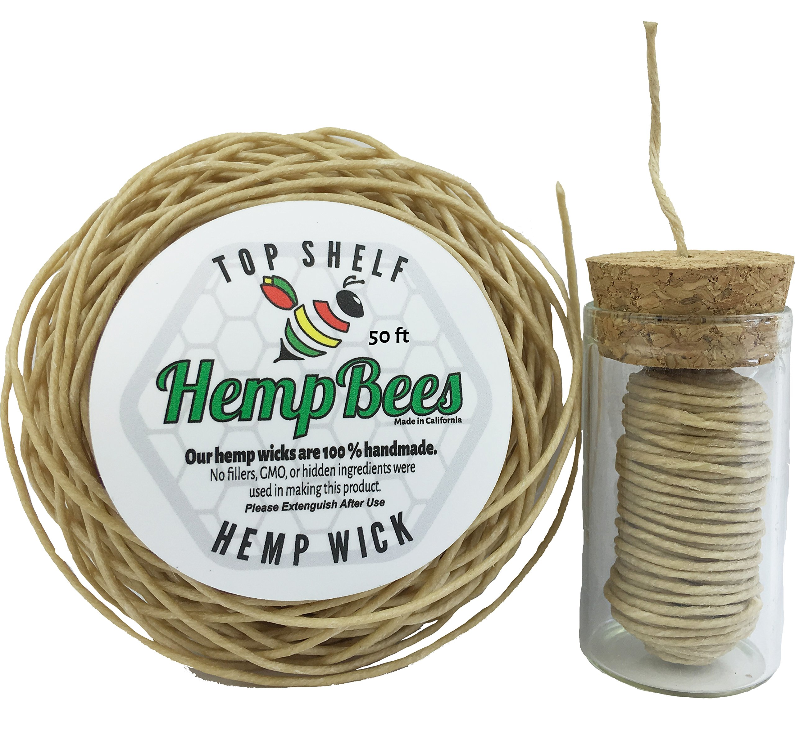 HempBees Organic Hemp Wick DISPENSER + 50 FT by