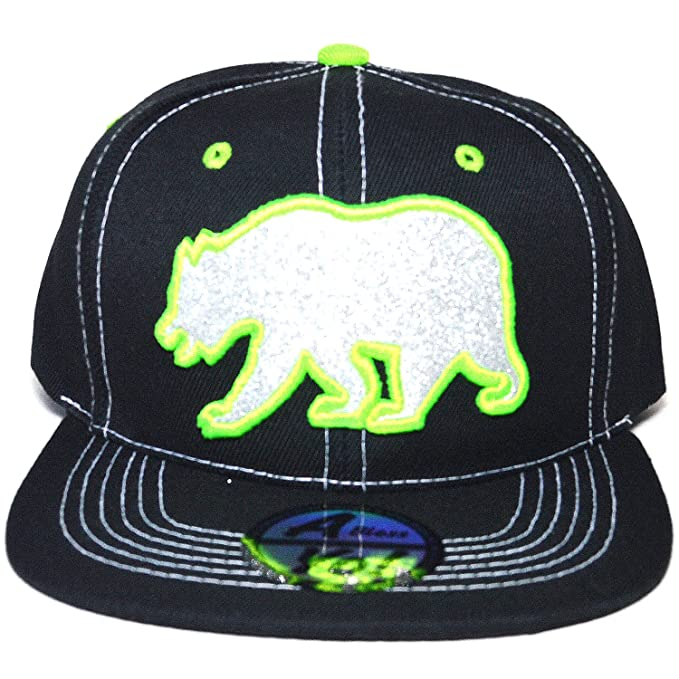 36e0529b914 AblessYo Bear Embroidered California Flat Visor Snapback Bill Cap Baseball  Sports Hat AYO3055 (Black)