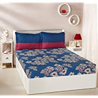 Amazon Brand - Solimo Floral Flakes 144 TC 100% Cotton Bedsheet Pillow Covers