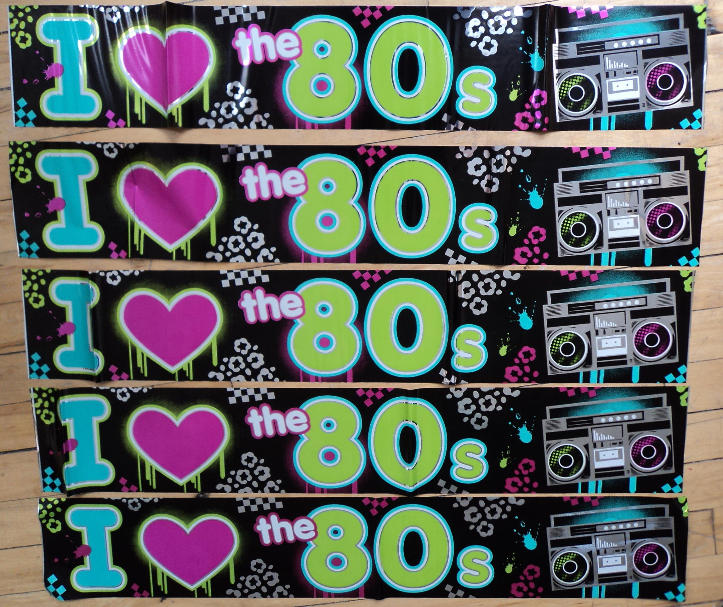 80s Party Decoration - I Love 80s Banner - 7.6 metres long! by 80s Material Girl