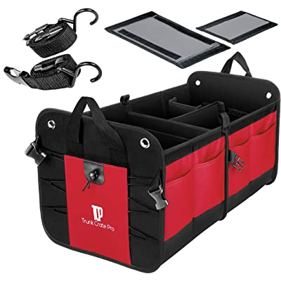 Trunkcratepro Collapsible Portable Multi Compartments Trunk Organizer, Red: Automotive